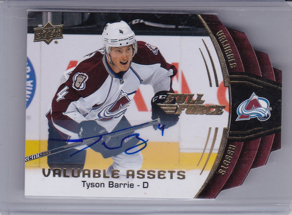 Tyson Barrie 2015-16 Full Force Valuable Assets Autograph card V-TB