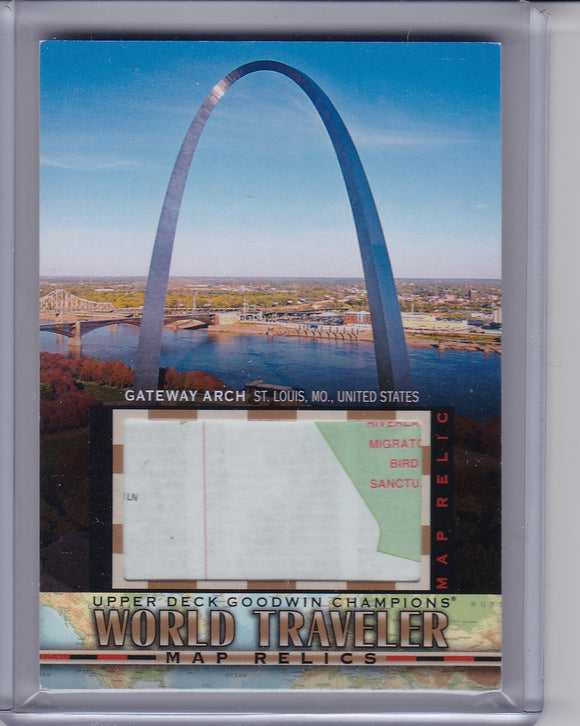 2018 Goodwin Champions World Traveler Map Relic WT-83 Gateway Arch Group K 1:153