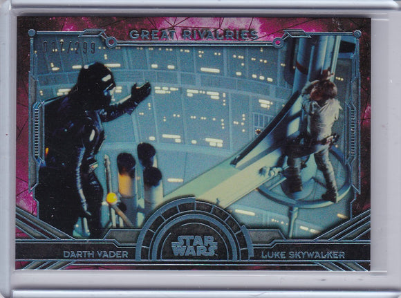 2016 Topps Star Wars Masterwork Great Rivalries card GR-2 Darth Vader Luke #d 037/299