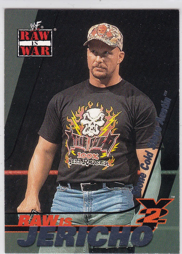 2001 Fleer WWF Raw Is War Raw Is Jericho card 2 of 15 RJ Chris Jericho on Stone Cold Steve Austin