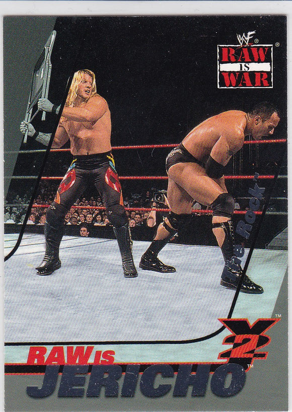 2001 Fleer WWF Raw Is War Raw Is Jericho card 1 of 15 RJ Chris Jericho on The Rock