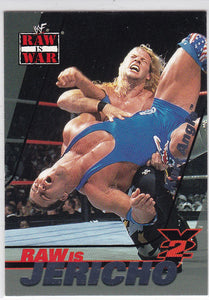 2001 Fleer WWF Raw Is War Raw Is Jericho card 4 of 15 RJ Chris Jericho on Kurt Angle