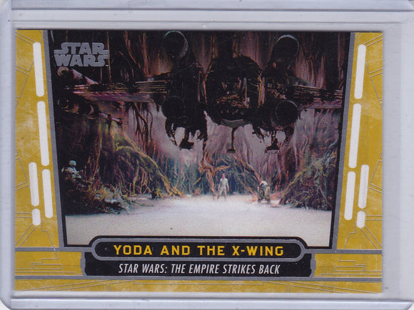2017 Topps Star Wars 40th Anniversary card #32 Yoda and The X Wing Gold #d 20/40