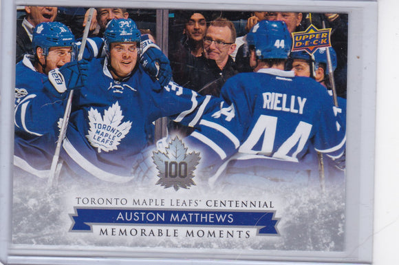 Auston Matthews 2017-18 Toronto Maple Leafs Centennial Memorable Moments card #200