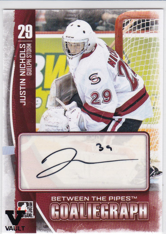 Justin Nichols Final Vault 2013-14 Between The Pipes GoalieGraph Autograph card A-JN