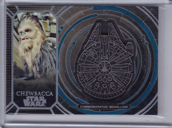 2017 Topps Star Wars 40th Anniversary Chewbacca Medallion card MMC-2 Blue 10/40