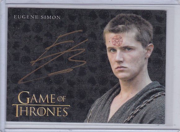 Game Of Thrones Valyrian Steel Eugene Simon as Lancel Gold Autograph card