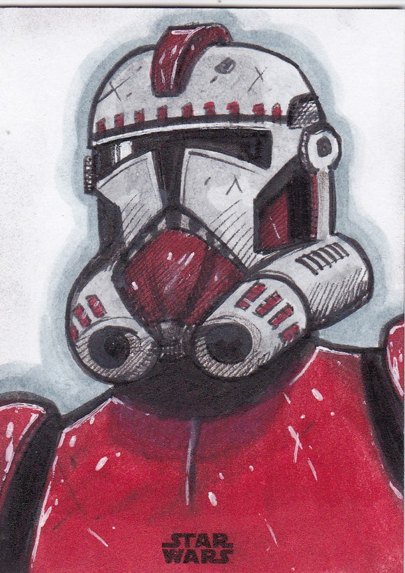2018 Star Wars Finest Shock Trooper Sketch card by Darren Pepe