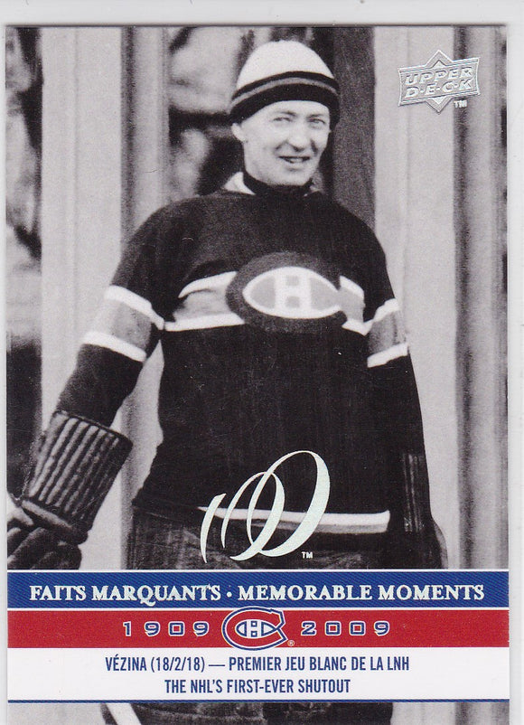 Georges Vezina 2008-09 Upper Deck Montreal Canadiens Centennial card #287