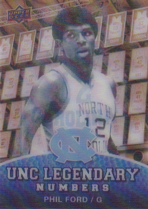2011 UD North Carolina Basketball Legendary Numbers Lenticular card LN-8 Phil Ford