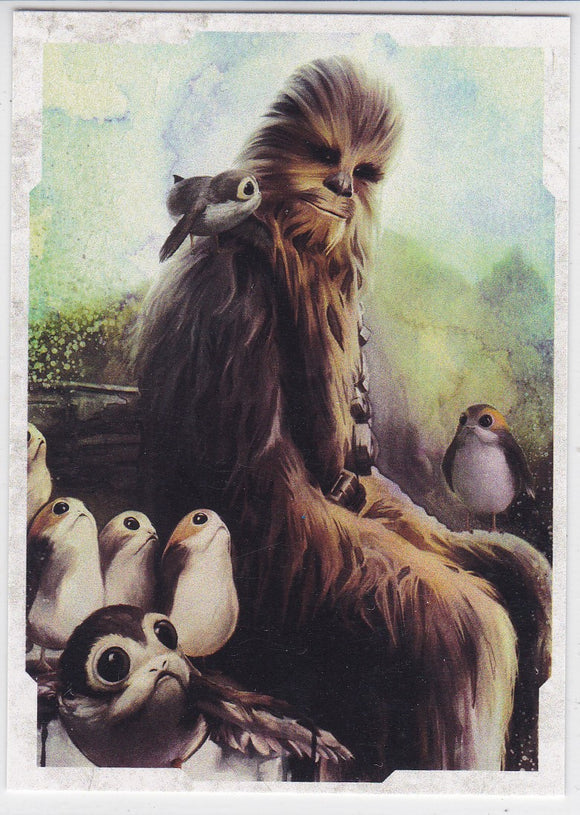 Star Wars The Last Jedi Character Portraits Insert card CP-13 Chewbacca & Porgs