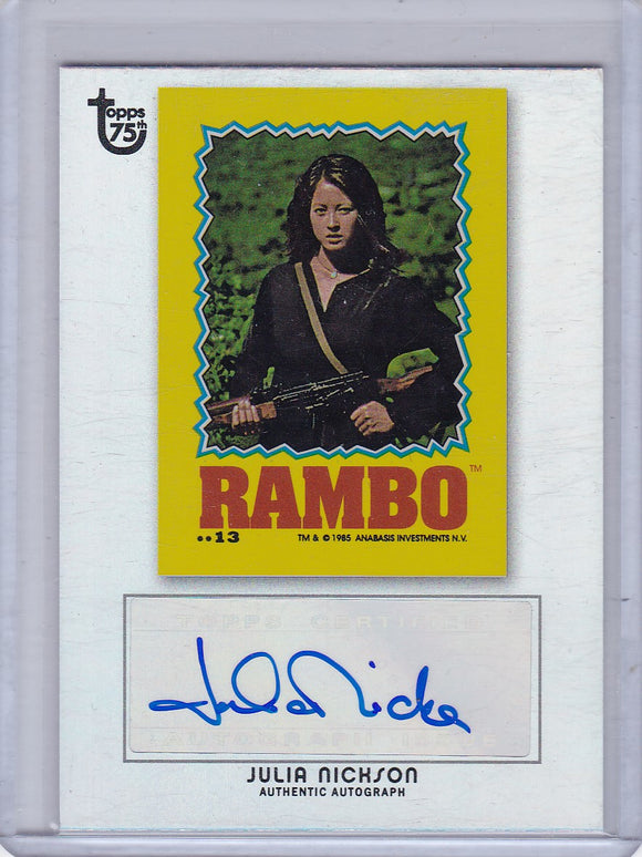 2013 Topps 75th Anniversary Julia Nickson Rainbow Foil Autograph card