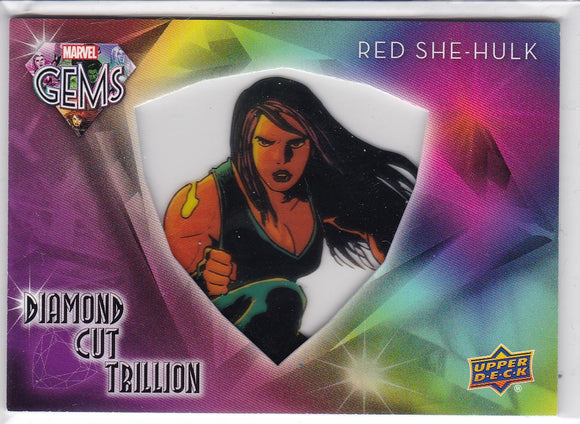 2016 Upper Deck Marvel Gems Red She-Hulk Diamond Cut Trillion card DCT-15