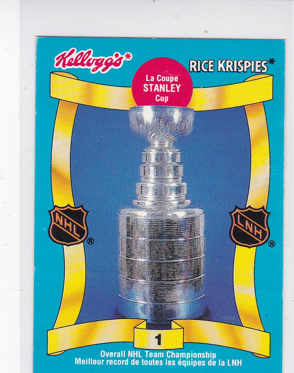 1993 Kelloggs Rice Krispies Stanley Cup card #1