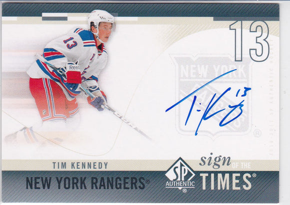 Tim Kennedy 2010-11 SP Authentic Sign Of The Times Autograph card SOT-TK