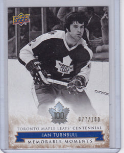 Ian Turnbull 2017-18 Toronto Maple Leafs Centennial MM card #184 Gold #d 077/100