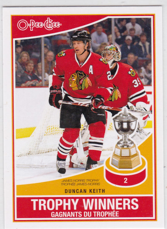Duncan Keith 2010-11 O-Pee-Chee Trophy Winners card TW-4