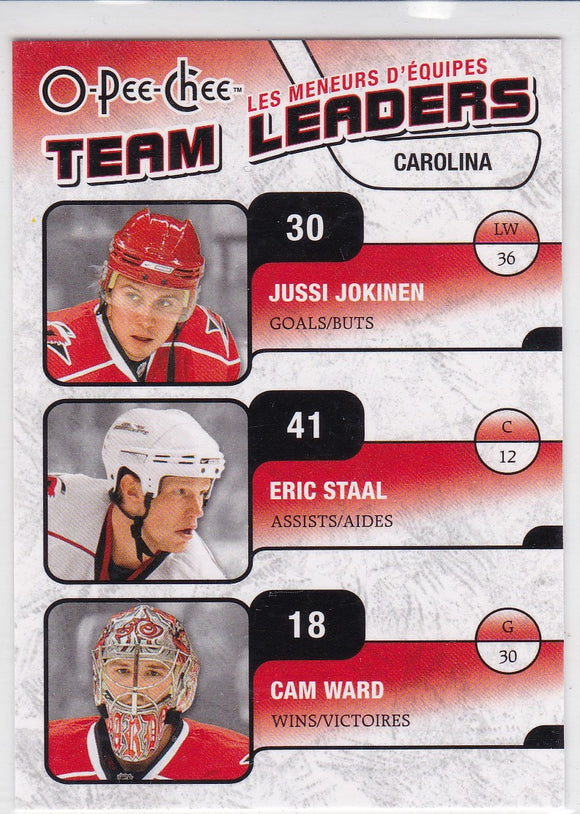 Eric Staal Cam Ward Jussi Jokinen 2010-11 O-Pee-Chee Team Leaders card TL-6