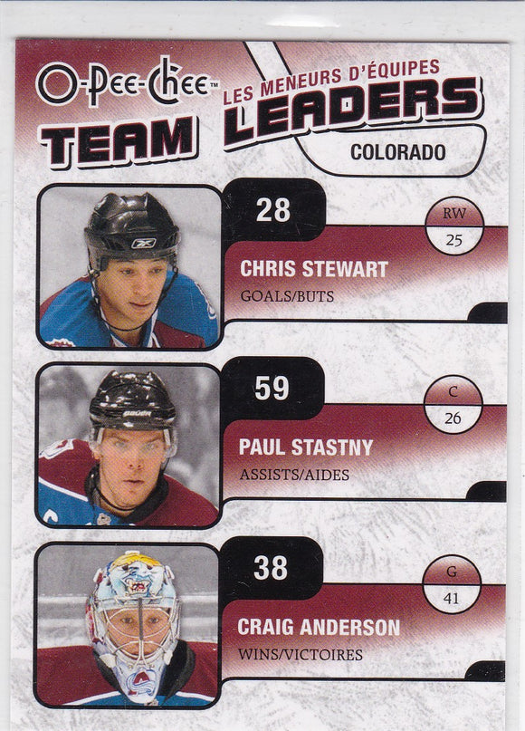 Craig Anderson Paul Stastny Chris Stewart 2010-11 O-Pee-Chee Team Leaders card TL-8