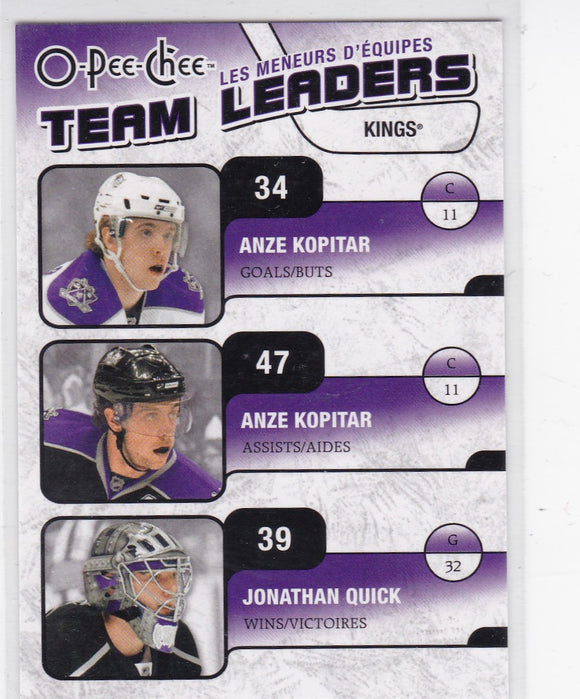 Anze Kopitar Jonathan Quick 2010-11 O-Pee-Chee Team Leaders card TL-14