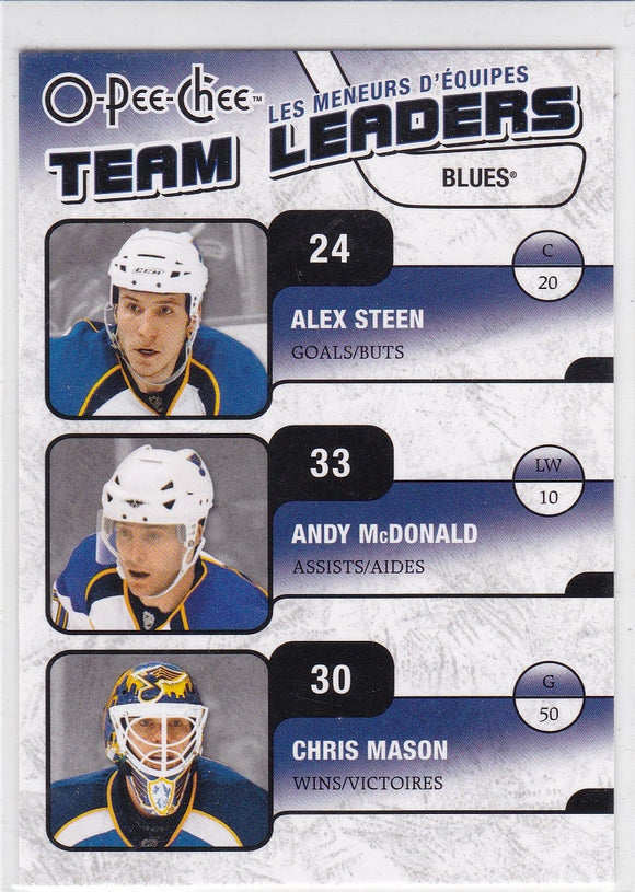 Chris Mason Alexander Steen Andy McDonald 2010-11 O-Pee-Chee Team Leaders card TL-26