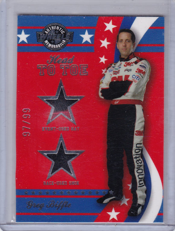 Greg Biffle 2008 Wheels American Thunder Head to Toe Hat Shoe HT 3 #d 97/99