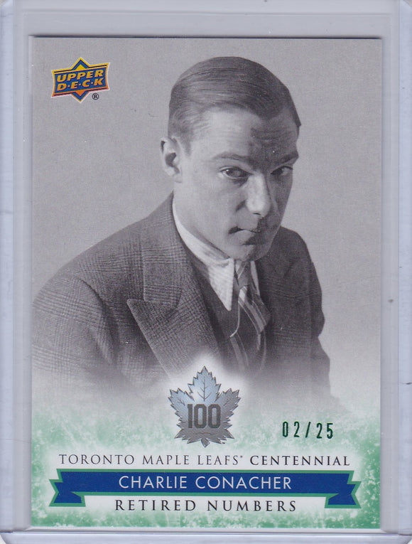 Charlie Conacher 2017-18 Toronto Maple Leafs Centennial RN card #128 Green #d 02/25