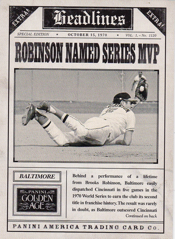 2013 Golden Age Headlines Insert card #5 Robinson Named Series MVP