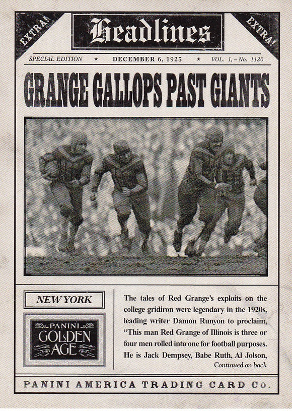 2013 Golden Age Headlines Insert card #2 Grange Gallops Past Giants