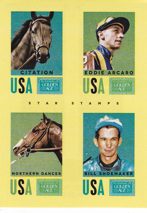 2014 Golden Age Star Stamps Insert #17 Citation Eddie Arcaro Northern Dancer Bill Shoemaker
