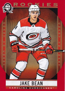 Jake Bean 2018-19 O-Pee-Chee Coast to Coast Rookies card #189 Red Parallel