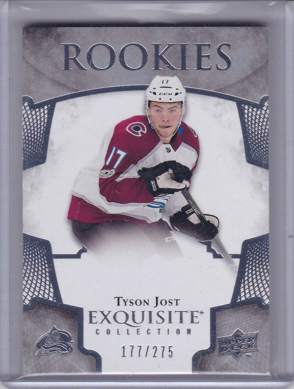 Tyson Jost 2017-18 Exquisite Collection Rookies card R-1 #d 177/275