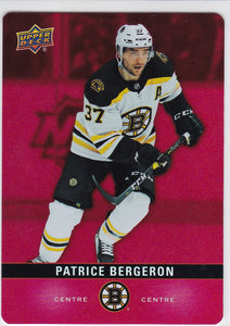 Patrice Bergeron 2019-20 Tim Hortons Red Parallel Die Cut card DC-16