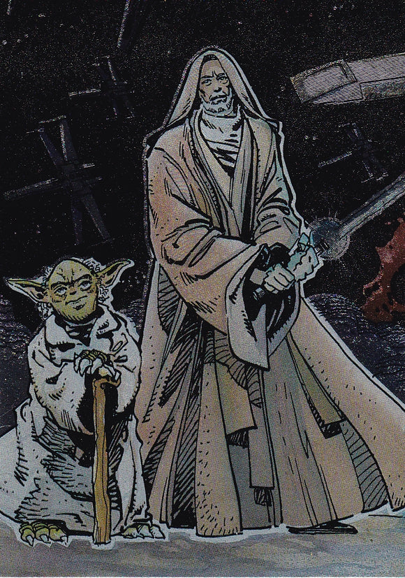 1993 Star Wars Galaxy 1 Etched Foil card # 5 of 6 Yoda Obi-Wan