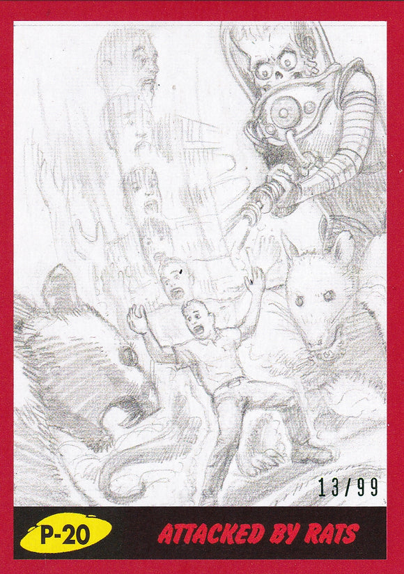 2017 Topps Mars Attacks The Revenge Pencil Art card #P-20 Red Parallel #d 13/99