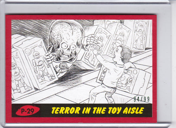 2017 Topps Mars Attacks The Revenge Pencil Art card #P-29 Red Parallel #d 94/99