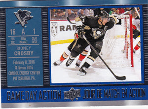 Sidney Crosby 2016-17 Upper Deck Tim Hortons Game Day Action card GDA-10