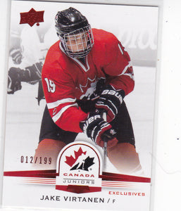 Jake Virtanen 2014-15 UD Team Canada Juniors card #44 Red Exclusives #d 012/199
