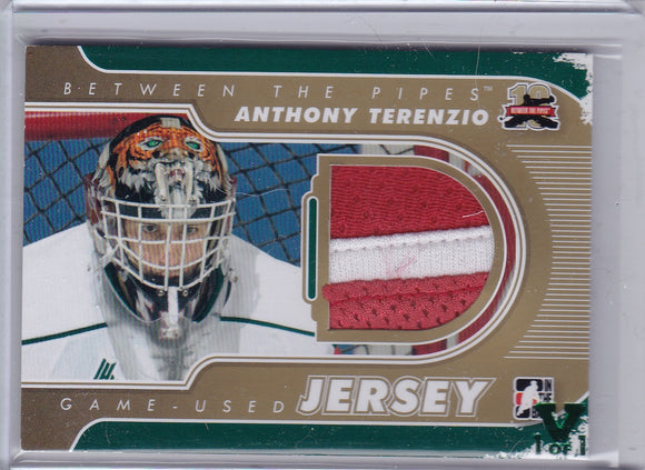 Anthony Terenzio Final Vault 2011-12 Between The Pipes Gold Jersey M-60 V 1/1