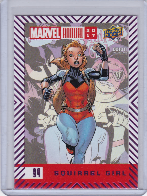 2017 Marvel Annual base card 94 Squirrel Girl Purple Foil Parallel