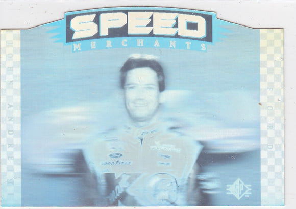 John Andretti 1995 Upper Deck SP Speed Merchants Die Cut card SM27
