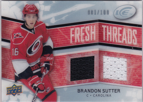 Brandon Sutter 2008-09 UD Ice Fresh Threads Jersey card FT-BS #d 081/100