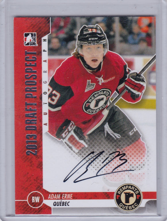 Adam Erne 2012-13 ITG Draft Prospects Autograph card A-AER2