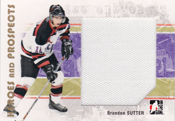 Brandon Sutter 2007-08 ITG Heroes and Prospects Top Jersey card #120