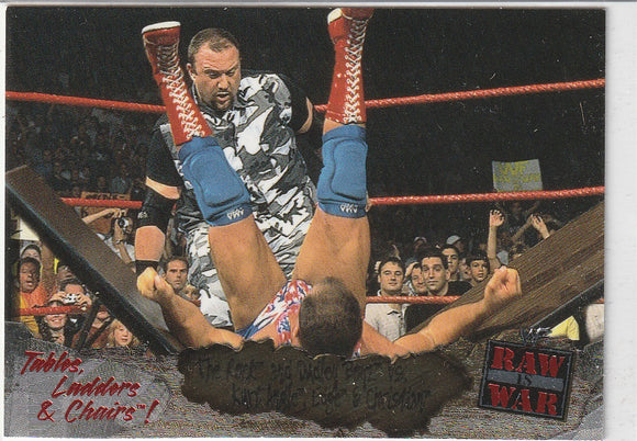 2001 Fleer WWF Raw Is War TLC 5 of 15 The Rock & Dudley Boyz vs. Kurt Angle, Edge & Christian