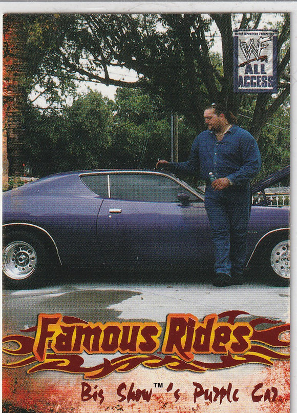 2002 Fleer WWF All Access 3 Famous Rides card 7 of 12 FR Big Show's Purple Car