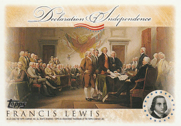 2006 Topps Signers of the Declaration of Independence card Francis Lewis