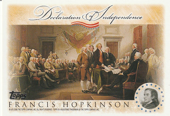 2006 Topps Signers of the Declaration of Independence card Francis Hopkinson