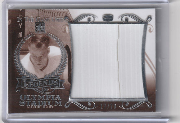 Gordie Howe 2016 In The Game Used Legends of Olympia Stadium Relic #d 17/20