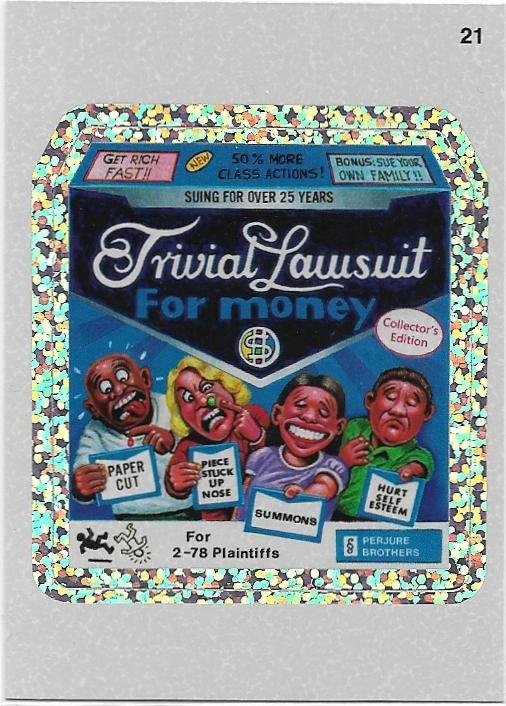 2011 Topps Wacky Packages Series 8 Silver Flash Foil #21 Trivial Lawsuit